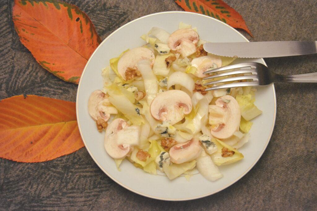 salade endive champignon roquefort noix - Salade d'automne