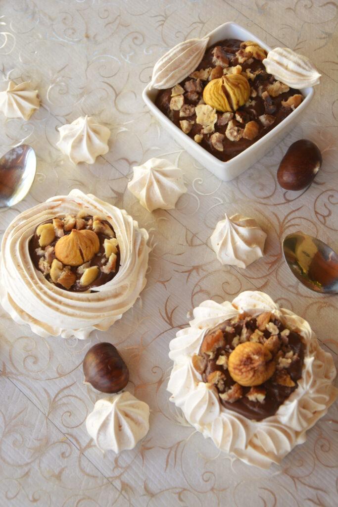 Pavlovas aux marrons et chocolat noir