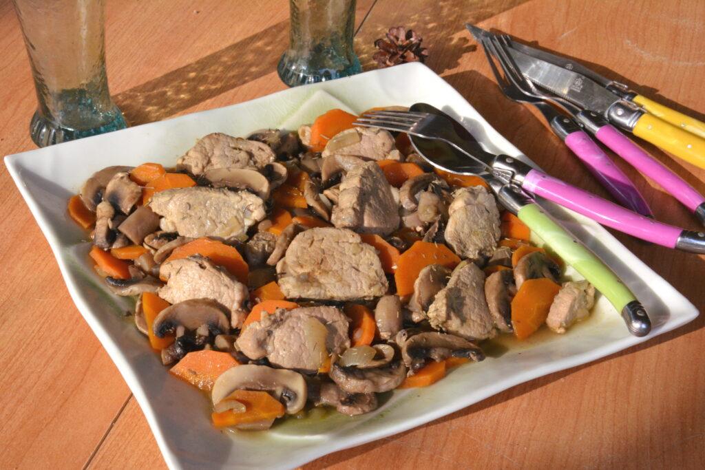 Mijoté filet mignon champignons (et sauce vin blanc)